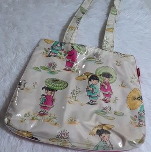 Vintage Irony Ethnic Parasol Girls Tote Bag